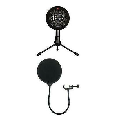 Blue Snowball iCE Condenser Microphone, Cardioid-Black with Dragonpad Pop Filter