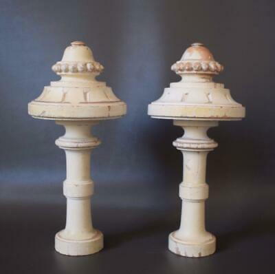 French Gustavian Architectural Pair Curtain Rod White Painted Wood Finial Post