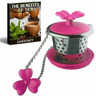 Makimy Clover Tea Infuser - Fuchsia - The Perfect Tea Steeper with Drip Tray - B