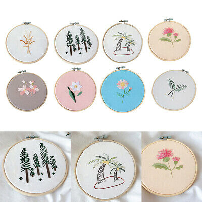 Hand Embroidery Kits for Beginners Stamped Floral Cross Stitch Crafts Round