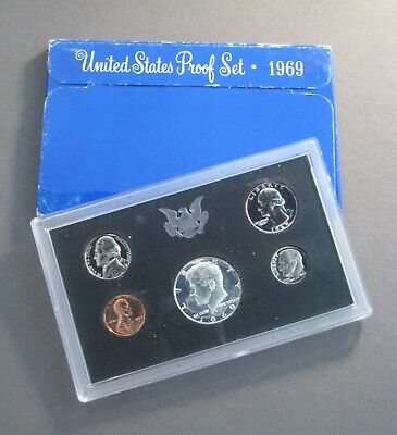 1969  U.S. MINT PROOF COIN SET - 40% Silver Half $  *Free Shipping Deal !*