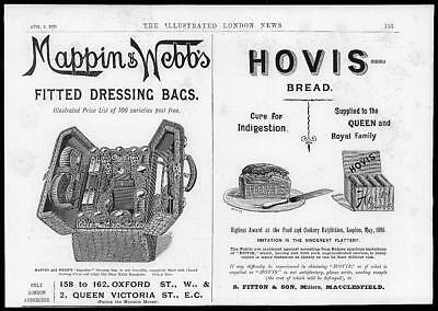 1895 Antique ADVERTISING Print - HOVIS BREAD Mappin Webb Fitted Dressing Bag (78