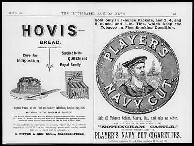 1895 Antique ADVERTISING Print - Hovis Bread Players Navy Cut Cigarettes (63)