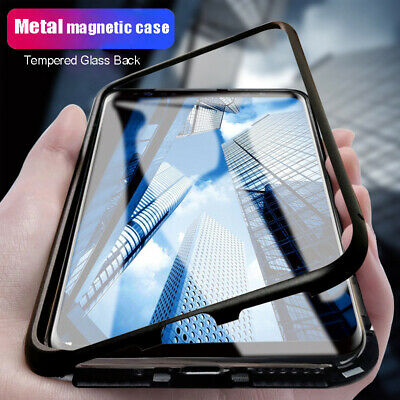 Samsung Galaxy J8 2018 Magnetic Phone Case Metal Bumper Tempered Glass Cover