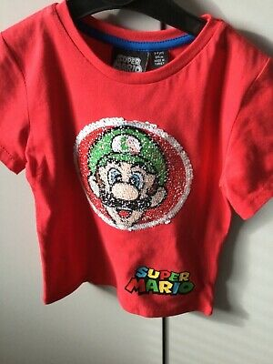 Super Mario Reversible Sequin T Shirt Boys Girls 6-7 Years Bnwt Blue Clothes, Shoes & Accessories Boys' Clothing (2-16 Years)