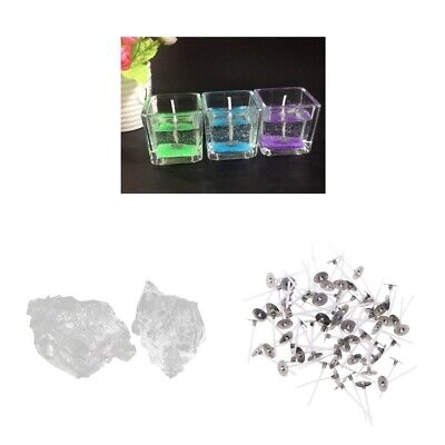 200g Clear Gel Wax Crystal Jelly Wax 100 Candle Wicks 25mm for Candle Making