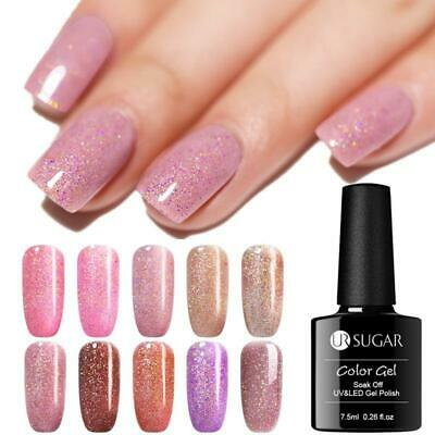 UR SUGAR Holographic Nail Gel Polish Shining Glitter Laser Soak Off UV Gel Semi