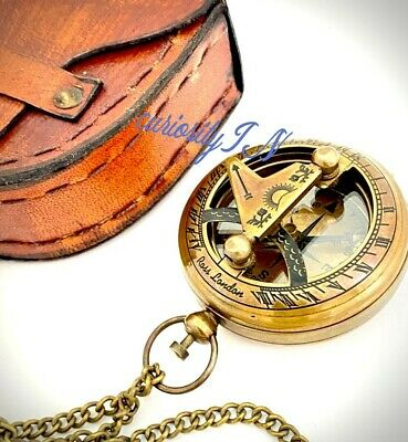 Nautical  Brass Sundial Compass - Marine Working Compass Pocket Style