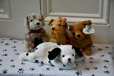 Retired Ty Beanie Babies Plush Dog And Cat Dottie Scat Whiskers Gigi Pounce Ty