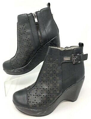 331a96a978a4 Jambu Womens Brighton Black Leather Ankle Boots Booties Wedge Heel Size 7.5M