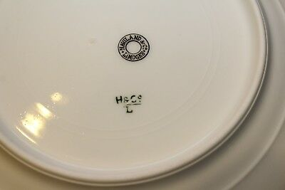 Haviland & C0 Limoges Salad Plates (4)  Rose Moss Blue Trim 1880's Antique