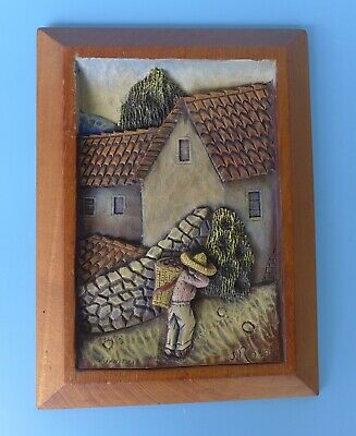 """Vintage Mexican bas relief wood carving plaque by ROSAS 7 5/8"""" x 10 3/8"""""""