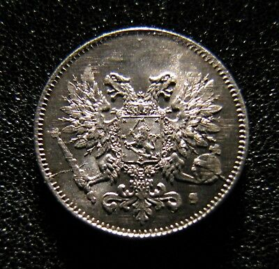 25 Pennia 1917 Finland / Russia Silver coin Type 2 *eagles without crown*