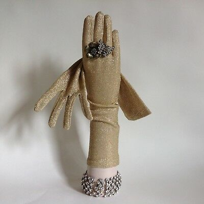 1950s Vintage Gold Metallic Lurex Evening Opera Gloves 13 Inch Size 6.5 To 7