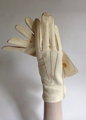 Vintage 1950s Ivory Kid Skin Button Wrist Evening Gloves Weddings Church Size 7