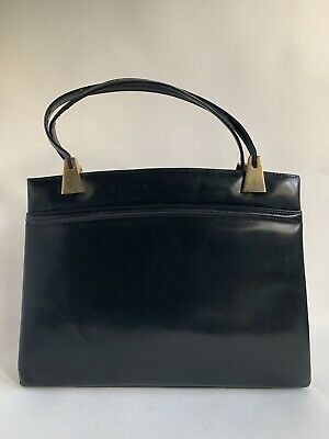 Vintage 1960s Black Calf Leather Handbag With Green Leather Lining Kelly Bag
