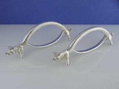 pair of Silverplate NAPKIN RING HOLDERS figural PIGS ~ hallmarked