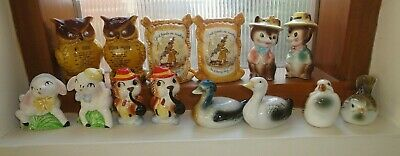 7 pairs of salt and pepper shakers lambs ducks birds owls flour sack squirrels