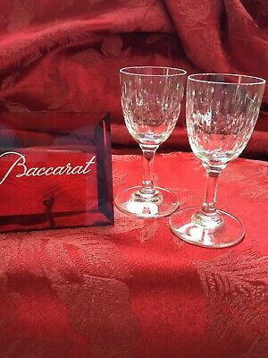 FLAWLESS Exquisite BACCARAT France Pair PARIS Art Crystal CORDIAL SHOTS Glasses