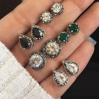 5 Pairs/Set Boho Stud Earrings Cubic Zirconia Water Drop Green Black Gemstones
