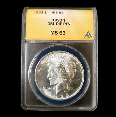 1923 US Silver Peace $1 One Dollar ANACS MS63 Double Die Reverse Coin BG8952