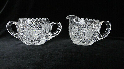 Antique ABP Cut Glass  / Crystal CREAMER / Cream Pitcher & SUGAR BOWL-Rosettes