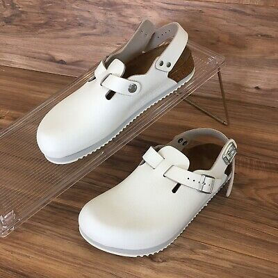 2ff1a5cec1d4 Birkenstock Tokio Tokyo Super Grip White Leather Clog Sandals Size Womens 7  New