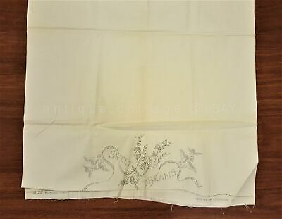 vintage STAMPED PILLOW CASES to HEM EMBROIDER linen SWEET DREAMS tubing MERRIBEE