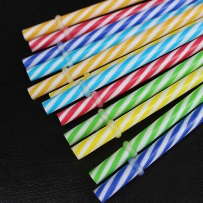 20Pcs Reusable Colorful Hard Plastic Stripe Drinking Straw Clean Wedding Set New