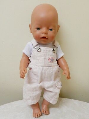 Max Zapf Baby Born Doll D96472 Roedental Fixed Blue Eyes Pink Overalls 42 Cm