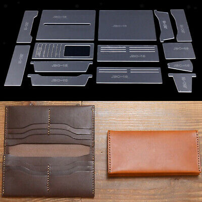 14Pcs Long Wallet Acrylic Template Card Case Leather Craft Pattern DIY Tools