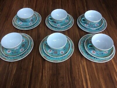 Asian old antique vintage Chinese impressive tea set (6 trios:cups,sausers,plate