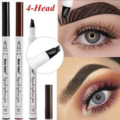 3 Colors Microblading Eyebrow Tattoo Pen 4 Head Fine Sketch Liquid Eyebrow Penci