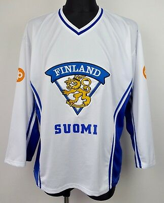 FINLAND Away Jersey Men's 2XL Adult Suomi Shirt Ice Hockey National White Top