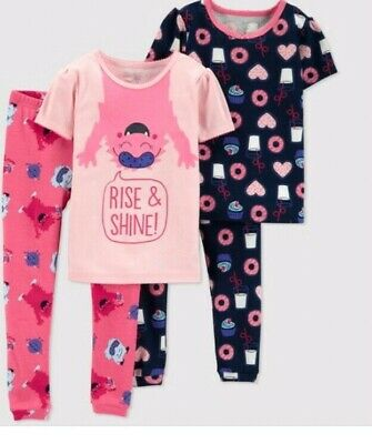 abe05f752 JUST ONE YOU By Carter s Rise And Shine Baby Girls 4pc Pajama Set 18 ...