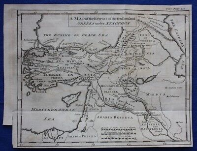 Original antique map ASIA MINOR, MIDDLE EAST, RETREAT OF XENOPHON Cellarius 1747
