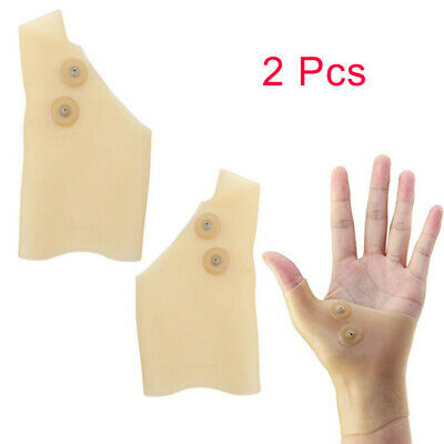 2Pcs Magnetic Therapy Silicone Gel Wrist Glove Support Hand Pain Ease Healthcare