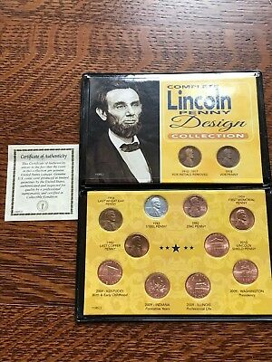 Complete Lincoln Penny Design Collection, 12-coin set in Leather Wallet