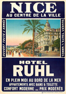 French VINTAGE POSTER Nice Hotel Ruhr France Retro Travel Art Deco Print A3 A4