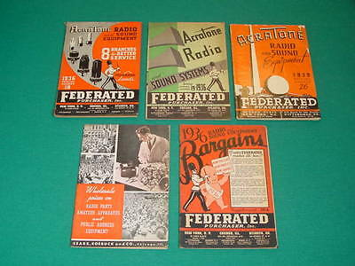 1930's Radio, Electronic Sales Catalogs, Sears, AcraTone,  5 Issues
