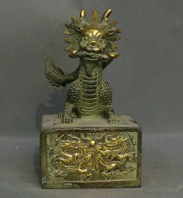 """7"""" Chinese Bronze Gild Fengshui Zodiac Dragon Dynasty imperial Seal Stamp Signet"""