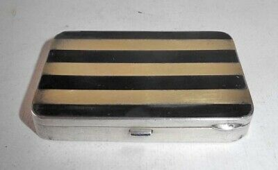 Art Deco Silver Black And Gold Compact With Lipstick Hallmark Jd