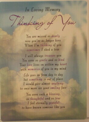 Memorial Grave Card In loving memory Thinking of You 16.5cm x12cm Waterproof