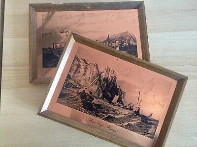 Pair of Vintage Copper Etchings HASTINGS EAST CLIFF & FROM THE SEA by Etchmaster