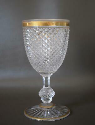 French Antique Baccarat Crystal Diamond Carved Gold Wine Glass Goblet Gondole