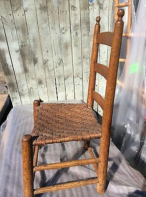 Vintage Shaker Rustic Primitive Straight Chair Oak Splint Seat Refinished Petina