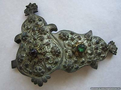 Turkey Ottoman Empire, major part of old silver buckles with stones, 166 g, RRR!