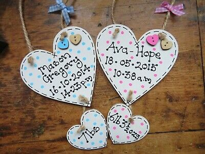 Personalised New Baby Birth Boy Girl Christening Heart Wood Plaque Gift Handmade