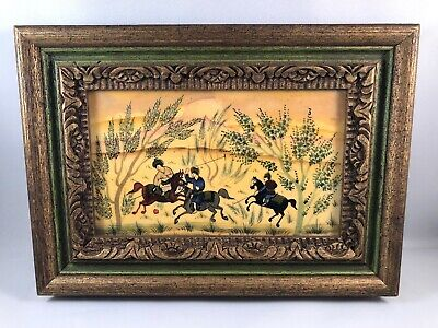 Persian Oil Miniature Painting On Bone THE HUNT, Framed