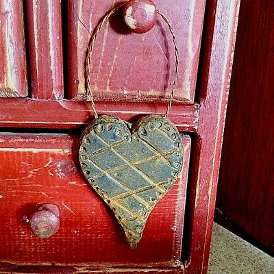New Primitive/Country Scented Handmade Blackened Beeswax Quilted Heart Ornie